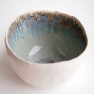 Handmade Blue Brown Decorative Ceramic Ring Dish - jewellery storage & trinket boxes