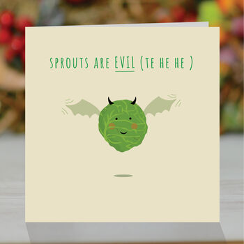 'Sprouts Are Evil' Funny Christmas Card