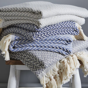 Skandi Large Cotton Throw - throws, blankets & fabric