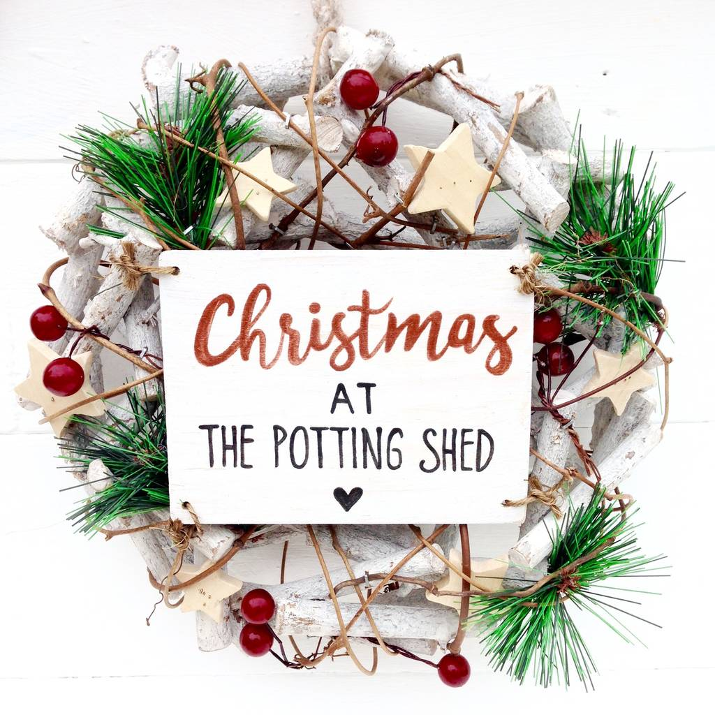 personalised christmas wreath decoration by potting shed designs ...
