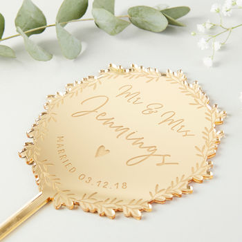Gold Mirror Wedding Cake Topper