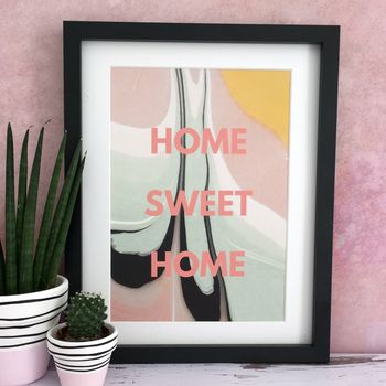 'Home Sweet Home' Marbled Paint Home Print