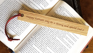Fathers Day Gift Oak Bookmark - personalised
