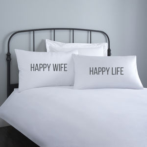 Happy Wife Happy Life Wedding Pillowcases - bed linen