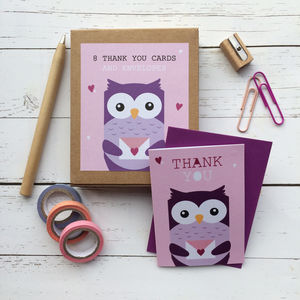 Children's Mini Thank You Cards Owl