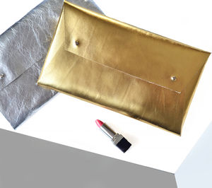 Metallic Leather Clutch Bag Or Pouch