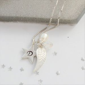 Personalised Angel Wing And Star Charm Necklace - necklaces & pendants