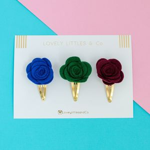 Rose Hair Clip Trio Set - hair accessories