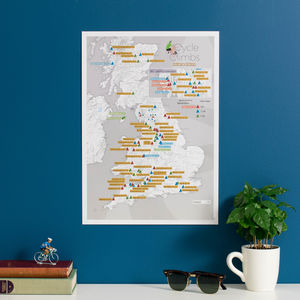 Personalised Scratch Off UK Cycle Climbs Print - posters & prints