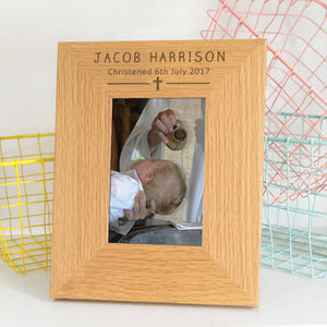 Personalised Modern Boys Christening Gift Photo Frame - children's room