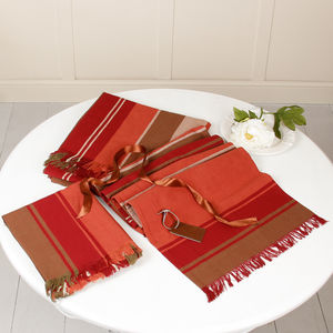Contemporary Artisan Fringed Striped Table Cloth Set - kitchen