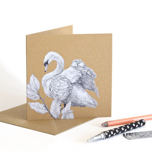 Mute Swan Recycled Greetings Card