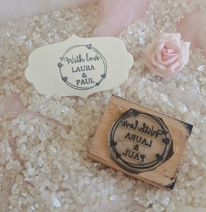 With Love Wedding Favour Personalised Rubber Stamp - wedding favours