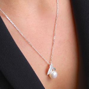 Pearl And Silver Leaf Necklace - necklaces & pendants