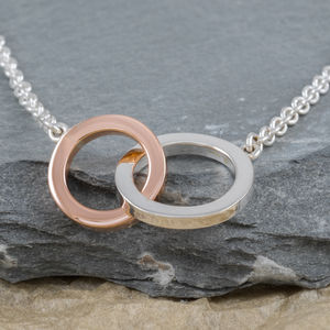 Rose Or Yellow Gold 9ct And Silver Unity Necklace