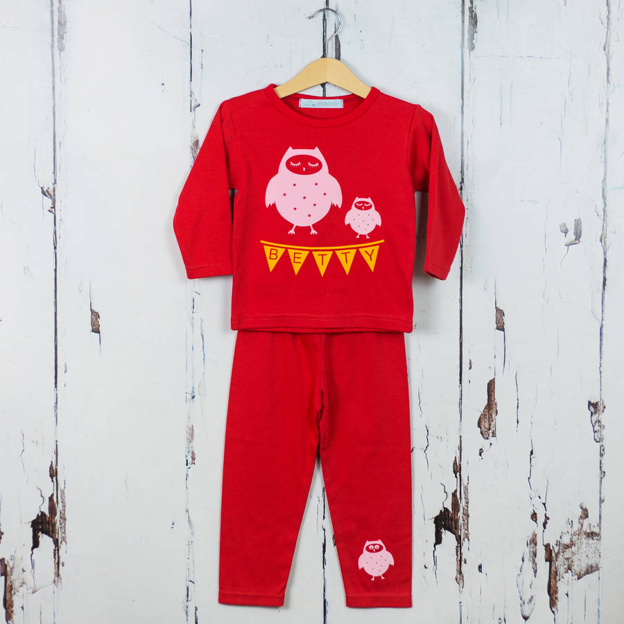 Personalised Girls Pyjama Set Owl Print