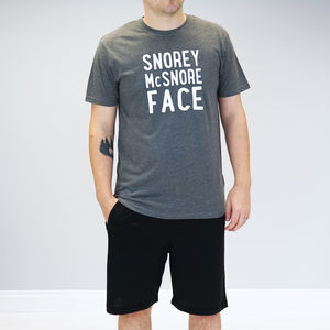 Personalised Snorey Mc Snore Face Pyjamas - men's fashion