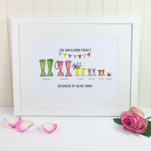 Summer Festival Welly Boot Personalised Print - posters & prints