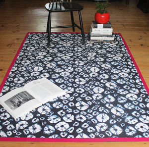 Shibori Diamonds Printed Cotton Rug - winter sale