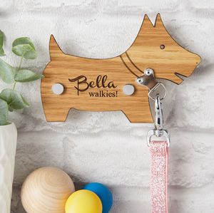 Personalised Dog Lead Holder - hooks, pegs & clips