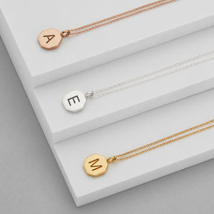 Personalised Engraved Hexagon Initial Pendant Necklace - view all gifts for her