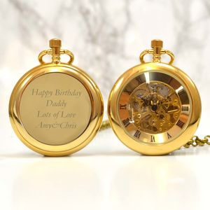 Gold Personalised Pocket Watch With Open Face