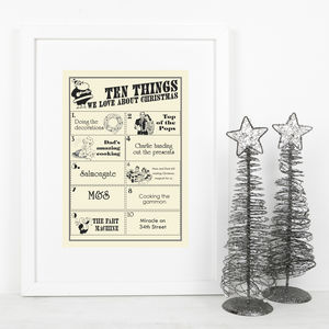 Personalised Vintage Style Family Christmas Print