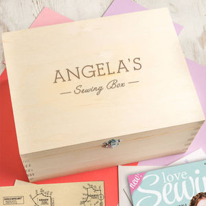 Personalised Engraved Wooden Sewing Box - storage & organisers