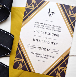 Art Deco Gatsby Wedding Invitation - wedding stationery