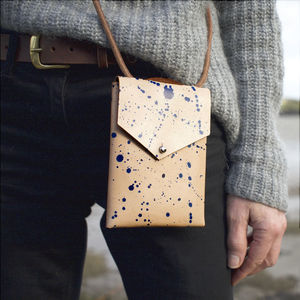 Handmade Leather Splash Detail Bag - womens