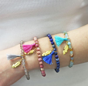 Feather Charm Bead Friendship Bracelet - bracelets & bangles