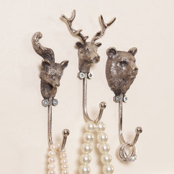 Woodland Animal Silver Wall Storage Hooks
