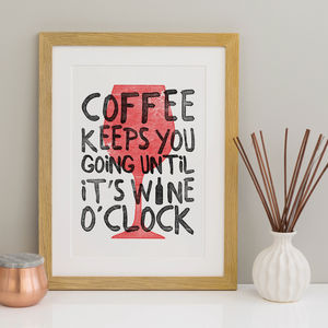 Wine O'clock Print Wine Lovers Print - posters & prints