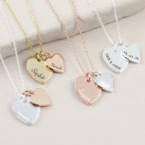 Personalised Double Heart Charm Necklace - personalised jewellery