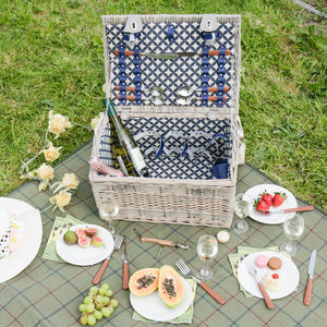 Personalised Blue Two Person Picnic Hamper - picnics & barbecues