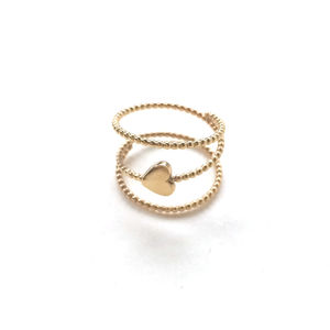 Beaded Gold Love Heart Spiral Ring