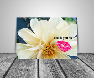 Set Of Six Floral And Lips Thank You Note Cards