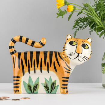 Handmade Ceramic Tiger Money Bank