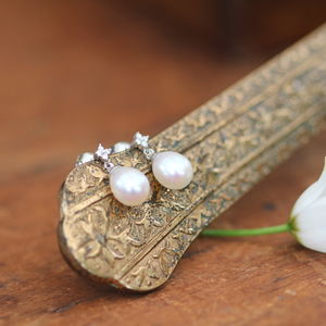 Diamond Snowdrop Pearl Drop Earrings - earrings