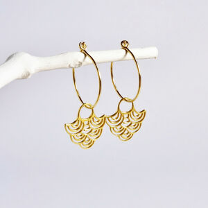 Gold Wave Hoop Earrings