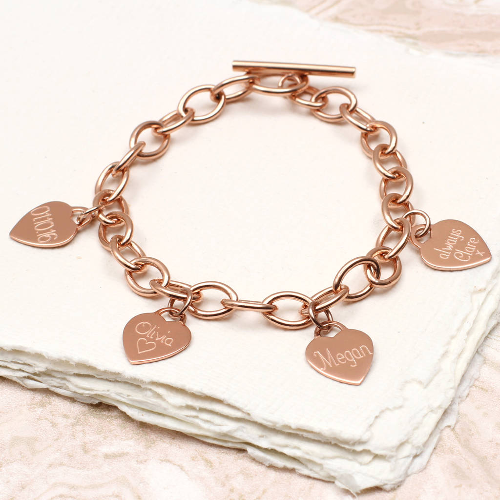 adf1af280 personalised 18ct gold heart charm bracelet by hurleyburley ...