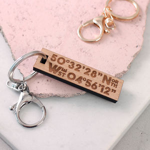 Wooden Engraved Coordinate Location Keyring