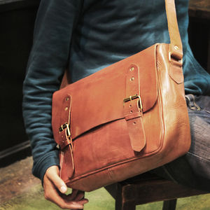 Veau Two Buckles Leather Messenger Bag