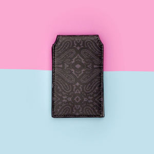Dark Paisley Leather Card Holder - passport & travel card holders