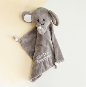 Personalised Elephant New Baby Comforter - sleeping