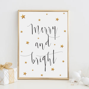 Merry And Bright Gold Foil Christmas Print