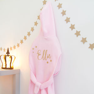 Childrens Fleece Personalised Glitter Robe - bathtime