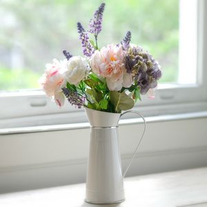 Artificial Pink Peony And Hydrangea Flower Arrangement - flowers, plants & vases
