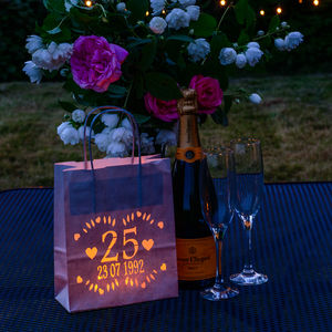 Silver Wedding Anniversary Lantern Bag, Personalised