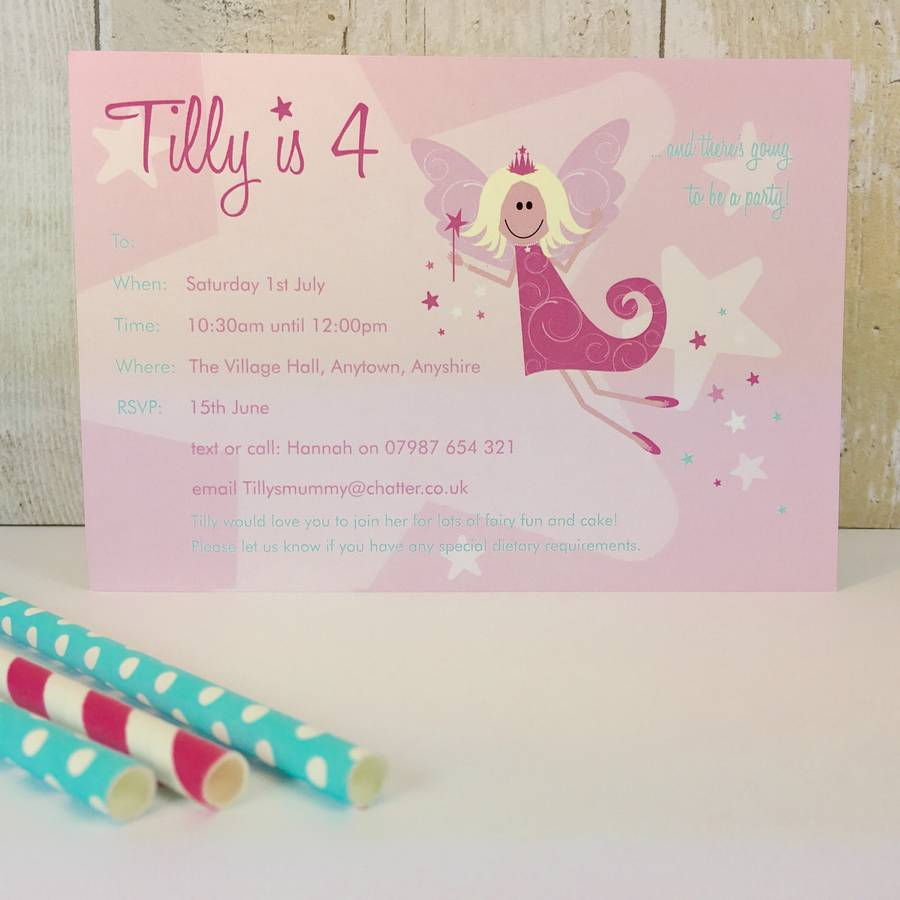 16 Fairy Party Invites Or Thank You Notes